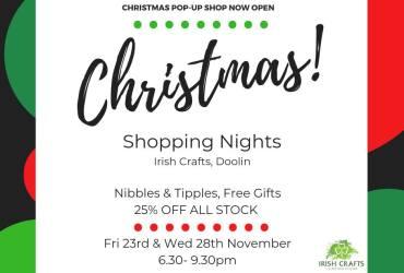 christmas shopping nights at irish crafts